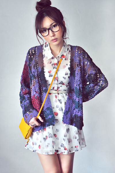 deep purple cardigan - white dress - coral dress - mustard bag