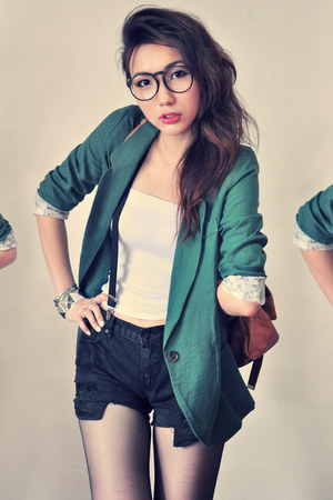 teal blazer - white shirt - bronze bag - black shorts