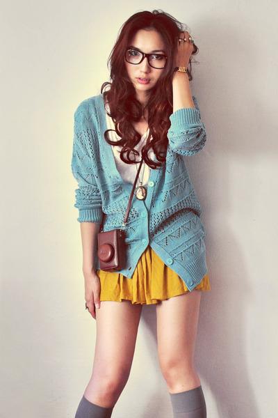 mustard skirt - ivory shirt - dark brown bag - heather gray socks