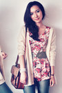 Ruby-red-dress-light-pink-dress-dark-brown-bag-beige-cardigan-teal-stock