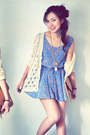 Sky-blue-dress-salmon-dress-mustard-bag-beige-cardigan