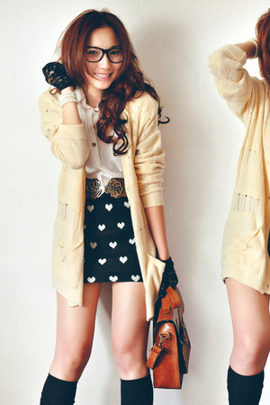 black skirt - off white shirt - brown bag - beige cardigan - dark brown belt