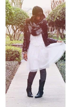 black thrifted boots - white dress - black faux leather Forever 21 jacket