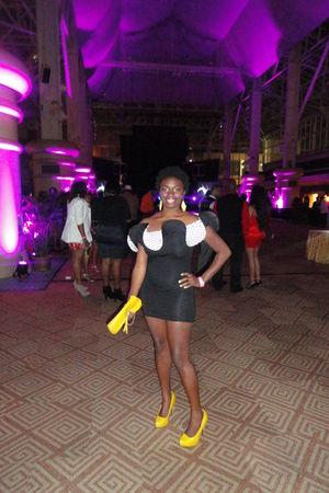 black asos dress - gold Qupid shoes
