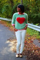 chartreuse Lulus sweater - white Old Navy jeans - red Old Navy top