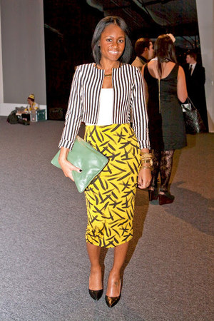 yellow asos skirt - H&M jacket - Love Cortnie bag - black Zara heels