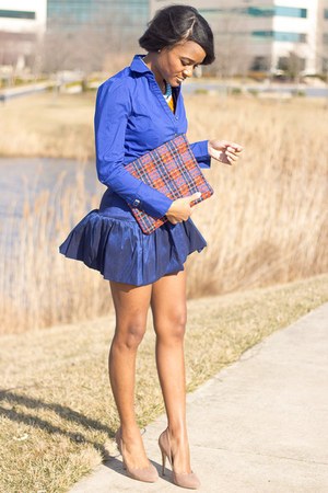 blue Express top - blue asos skirt