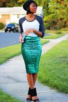 turquoise blue asos skirt - white Forever 21 top - black Steve Madden heels