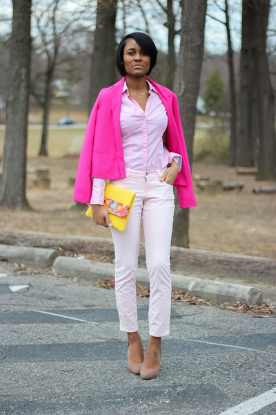 hot pink Forever 21 blazer - light pink Old Navy pants