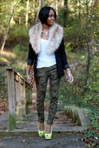 black H&M blazer - olive green Zara pants