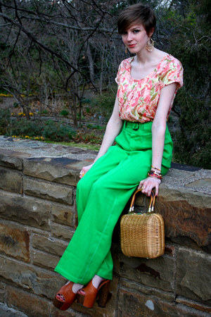 green high waist vintage pants - light brown basket thrifted purse