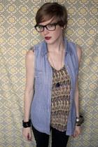 black Topshop jeans - blue denim thrifted vest - yellow Forever 21 top - blue Ur