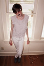 White-skinny-delias-jeans-periwinkle-ruffle-forever-21-top-gray-forever-21-l