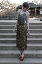 tan halter Lux top - brown floral vintage skirt - tawny Jessica Simpson heels