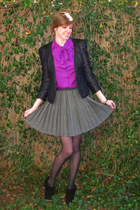 black Silence & Noise blazer - heather gray pleated Target skirt - purple bow Sh
