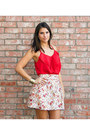 Red-ruffle-tank-milky-way-top-white-floral-skirt-tribal-cuff-bracelet