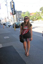 t-shirt - shorts - - sunglasses - purse