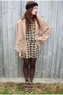 Dark-brown-plaid-vintage-dress-dark-brown-ebay-lace-tights-leggings-beige-fr