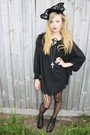 Black-studded-rose-vintage-dress-black-lace-up-wedges-shorts