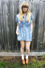 Blue-studded-rose-vintage-dress