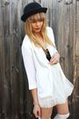 White-studded-rose-vintage-jacket-white-ebay-skirt-black