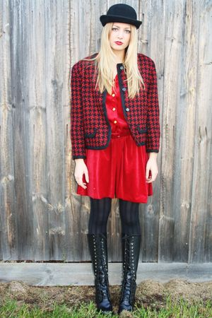 black thrifted thrifted boots - red vintage Studded rose vintage dress