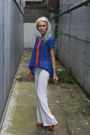 Blue-sheer-sugarlips-top-white-trousers-bcbg-pants