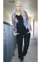 violet galaxy Sheinside jacket - black silk BCBG pants