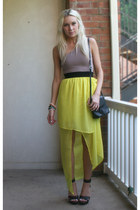 yellow maxi dress Sugarlips dress - black BCBG sandals