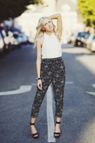 black Forever 21 pants - ivory Forever 21 shirt - black BCBG sandals
