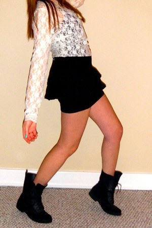black Slovak boots - ivory all lace Rue 21 shirt - black Slovak skirt