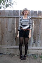 black striped thrifted sweater - black cut-off thrifted vintage levis shorts