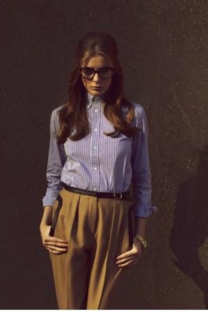 sky blue Ralph Lauren shirt - camel jaeger pants - gold Michael Kors watch - bla