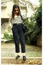 black vintage bag - black Gusto belt - eggshell H&M jumper - dark khaki atlas pa