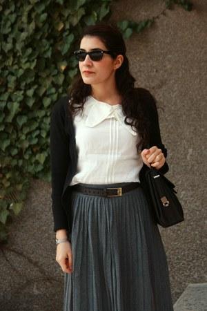 dark brown vintage boots - black vintage bag - beige Park Bravo blouse - dark br