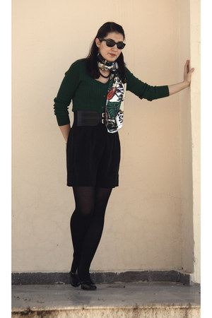 black Marks & Spencer shoes - ruby red Self Made scarf - dark green LCW cardigan