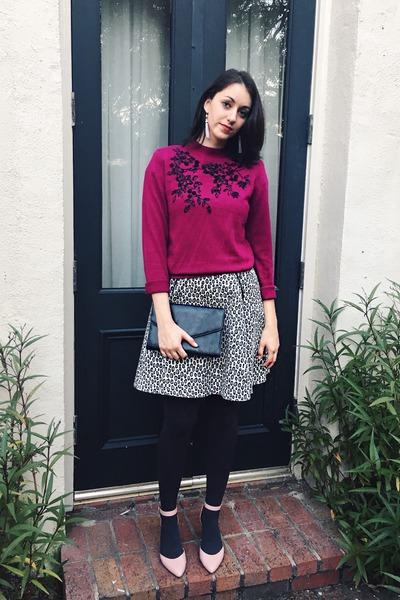 magenta vintage sweater - charcoal gray Rachel Zoe dress