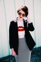 black blazer - red shirt - charcoal gray skirt