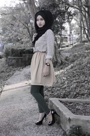 skirt - leggings - black mumu scarf - baby-g casio watch - Charles & Keith heels