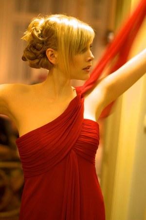 red Alex evenings dress - gold vintage bag - gold H&M earrings