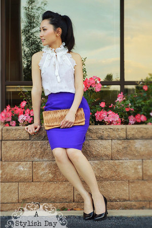 purple skirt - Fendi shoes - White ruffle top