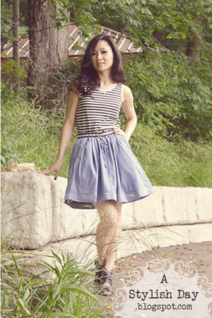 Stripe top - denim skirt