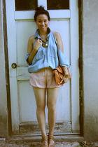 blue vintage ralph lauren shirt shirt - pink alex lane shorts - brown Prada shoe