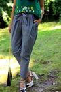 Green-vintage-miu-miu-top-silver-h-m-pants