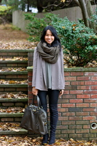 brown Zara blouse - black Zara boots - black oxy leggings Kova & T leggings