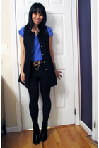 blue Urban Outfitters blouse - black Urban Outfitters vest - black Forever21 leg