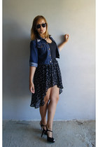 black high-low zara via romashkashop skirt - navy denim DIY jacket