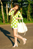 chartreuse checked Choies dress - white bracelet H&M accessories