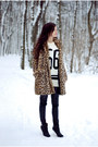 Light-brown-fur-zara-coat-white-cotton-sheinside-jumper