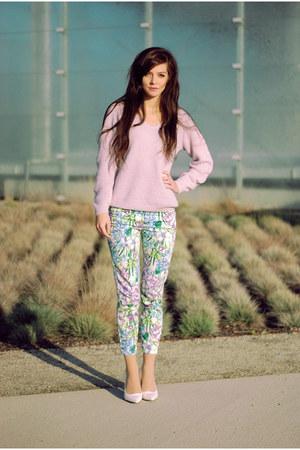 periwinkle retro Choies jumper - floral Zara pants